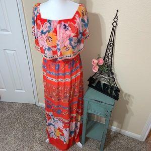 🧡💛Beautiful Off The Shoulder Orange Maxi Dress
